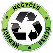 picture of reuse recycle  - vector illustration of recycle sign on white background - JPG