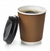 Coffee in takeaway cup on white background