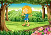 foto of hulahoop  - Illustration of a forest with a child playing - JPG