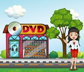Illustration of a girl in front of the dvd store