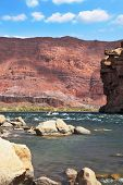 Sharp of the Colorado River. The rapid flow of the river among the stone sills