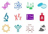 stock photo of gels  - Set of twelve colorful molecular biology science icons - JPG