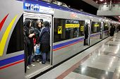 TEHRAN, IRAN - NOVEMBER 24, 2007: Underground station in Tehran Metro has separate compartments for