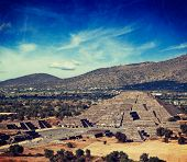 Vintage retro hipster style travel image of famous Mexico landmark tourist attraction - Pyramid of t