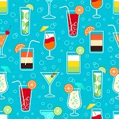 stock photo of vodka  - Seamless pattern background with alcohol cocktail drinks of martini margarita tequila vodka vector illustration - JPG