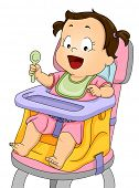Illustration of a Smiling Baby Girl Strapped to a Booster Seat