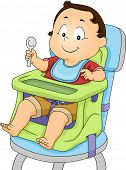Illustration of a Baby Boy Strapped to a Booster Seat