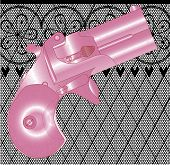 image of derringer pistol  - A Derringer pistol in pink over a lace stocking background in a fishnet style with hearts and flowers - JPG