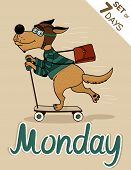 pic of weekdays  - Monday dog weekdays hipster vector illustration calendar set - JPG