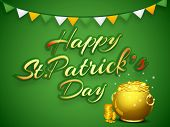 Happy St. Patrick's Day celebrations concept with stylish text and golden pot with full of coins on