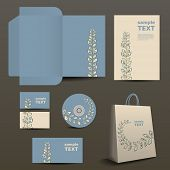 Stationery, Corporate Image Design with Organic Ornament Pattern
