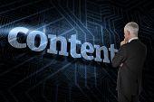 The word content and thoughtful businessman standing back to camera against futuristic black and blu