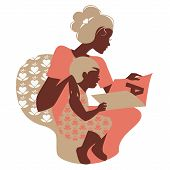 stock photo of babysitting  - Beautiful silhouette  of mother and baby reading book - JPG