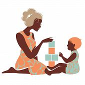 picture of babysitting  - Beautiful silhouette of mother and baby playing with toys - JPG