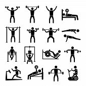 foto of gym workout  - Workout sport and fitness gym training icons black set isolated vector illustration - JPG