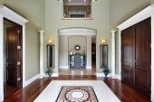 stock photo of entryway  - Foyer in luxury home with balcony and floor design - JPG