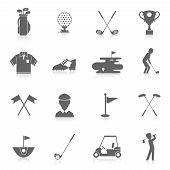 stock photo of ball cap  - Golf game sport and activity black icons set isolated vector illustration - JPG