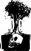 foto of pain-tree  - Woodcut style image of a tree with a face where roots grow around a buried giant skull - JPG