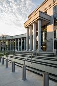 stock photo of supreme court  - Sign and entrance steps to modern building housing the Colorado Supreme Court and Court of Appeals in Denver CO - JPG