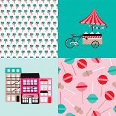 stock photo of popsicle  - Ice cream bike candy shop and lollipop popsicle illustration background pattern in vector - JPG