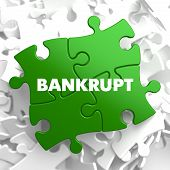 stock photo of lame  - Bankrupt on Green Puzzle on White Background - JPG