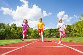 image of arms race  - Smiling children running marathon outside in summer - JPG