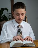 picture of scriptures  - A young boy studying the scriptures at home - JPG