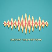 picture of waveform  - Retro card with 3D sound waveform and shadow - JPG
