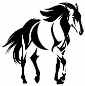 stock photo of mustang  - wild horse black and white outline  - JPG