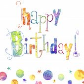 picture of birthday  - Beautiful happy birthday greeting card with text  - JPG
