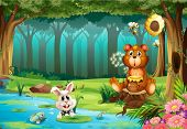 foto of jungle flowers  - Illustration of a bear in a jungle - JPG