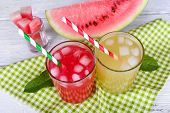 image of melon  - Watermelon cocktail and melon smoothie on wooden table - JPG