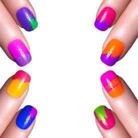 image of nail paint  - Nail Polish. Art Manicure. Multi-colored Nail Polish. Beauty hands. Stylish Colorful Nails ** Note: Visible grain at 100%, best at smaller sizes - JPG