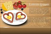 image of olive shaped  - Scrambled eggs with sausage in a heart shape on a white plate decoration cheese olives and cherry tomatoes - JPG