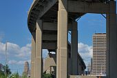 image of skyway bridge  - Buffalo New York Skyway bridge leading into downtown Buffalo - JPG