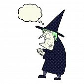 picture of ugly  - cartoon ugly old witch with thought bubble - JPG