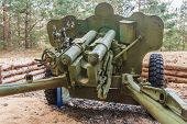 image of artillery  - Artillery gun fired during the World War II in Belarus - JPG