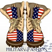 image of north star  - Fashion hand drawn boots in military style with USA flag - JPG