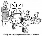stock photo of leader  - Cartoon with businesspeople in a meeting and the leader is stating today they will decide where to place blame - JPG