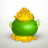 picture of pot gold  - Glossy green pot full of gold coins on grey background for Happy St - JPG