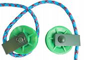picture of pulley  - the two green Pulleys on white background - JPG