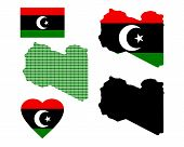 stock photo of libya  - Map of Libya and the different types of characters on a white background - JPG