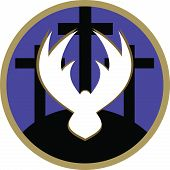 image of crucifixion  - A vector illustration of three crosses on a purple and gold circle background - JPG