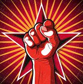 stock photo of communist symbol  - Great illustration of Russian Propaganda style punching Fist symbolising Revolution - JPG
