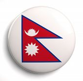 stock photo of nepali  - Nepal national flag isolated icon on white - JPG