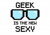 stock photo of dork  - Geek Is the new sexy in pixel style with glasses - JPG