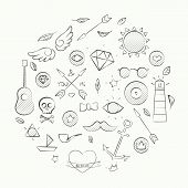 stock photo of peace-pipe  - Vector illustration of hand drawn doodle hipster set over white - JPG