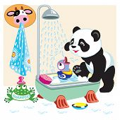 image of panda  - cartoon panda bear taking bath in the bathroom  - JPG