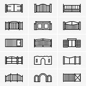 picture of gate  - Set of twenty gates on grey background - JPG