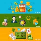 stock photo of poker machine  - Casino luck poker games risk activity flat horizontal banners set isolated vector illustration - JPG
